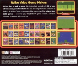 A Collection Of Activision Classic Games For The Atari 2600 (Greatest Hits) (SLUS-00777) (Back)