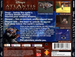 Disneys Atlantis The Lost Empire (SCUS-94636) (Back)