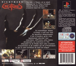 Nightmare Creatures (French) (SCES-00582) (Back)
